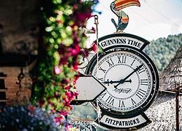 Clock showing Guinnes Pelican at Fitzpatricks
